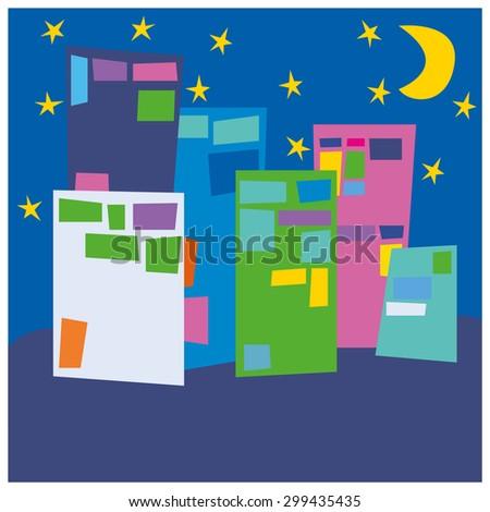 Night city landscape vector illustration - stock vector