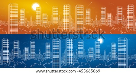Night city mega panorama. Skyscrapers, white lines, urban skyline, neon town, business building, vector design art, day and night