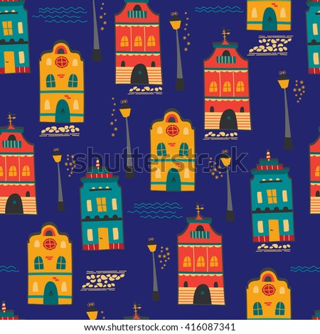 Night city seamless pattern with houses and lanterns. Vector background. For greeting cards, travel brochures, souvenir production, wallpaper, surface textures, scrapbooking and fabric prints. - stock vector