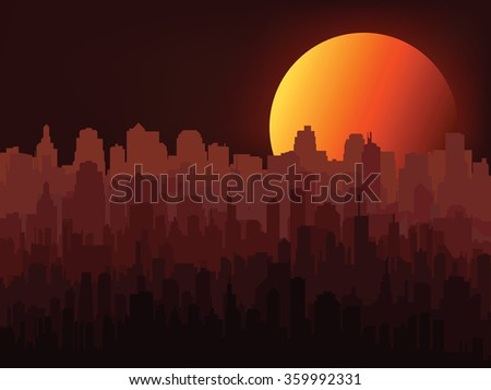 Night city silhouette. Silhouette of the city at night  - stock vector