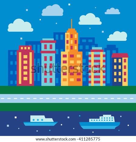 Night city skyline, urban landscape in flat style, vector illustration - stock vector
