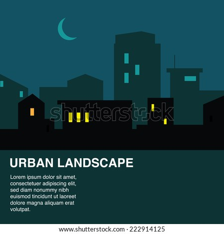 Night city skyline, urban landscape vector illustration in flat style with Copy Space. - stock vector