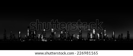Night city skyline. Vector eps 10 - stock vector