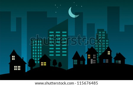 Night city skyline, vector illustration - stock vector
