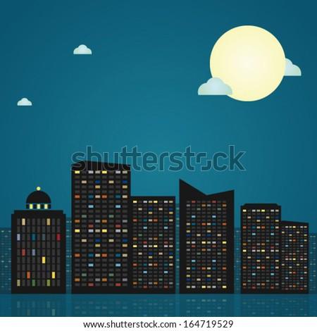 Night city skyline, vector illustration - stock vector
