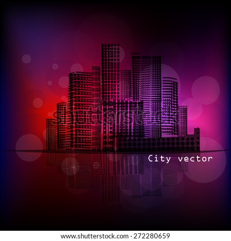 night city. Vector - stock vector