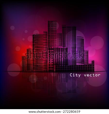 night city. Vector - stock vector