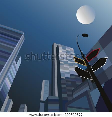 Night cityscape, vector illustration - stock vector