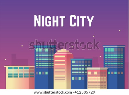 Night cityscape. Vector illustration.  Night City - stock vector