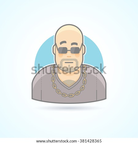 Night club bouncer, security chief, bodyguard icon. Avatar and person illustration. Flat colored outlined style. Vector illustration. - stock vector