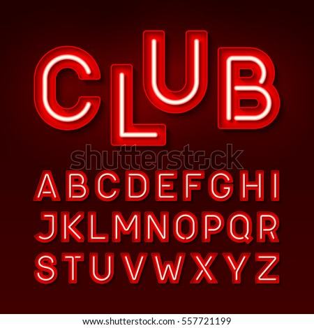 Lettering Stock Royalty Free & Vectors #1: stock vector night club neon font broadway style vintage typeface vector illustration