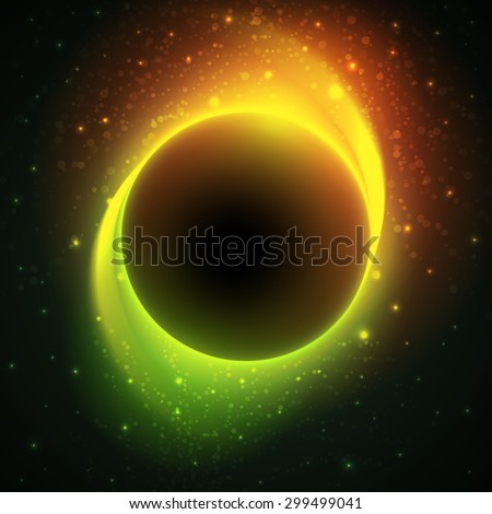 Night cosmic vector background with glowing stars around big dark planet in center and green-orange light trails. Beautiful bright eclipse in a distant galaxy