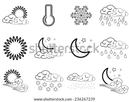 Night day weather colour icons set black outlined isolated on white background.
