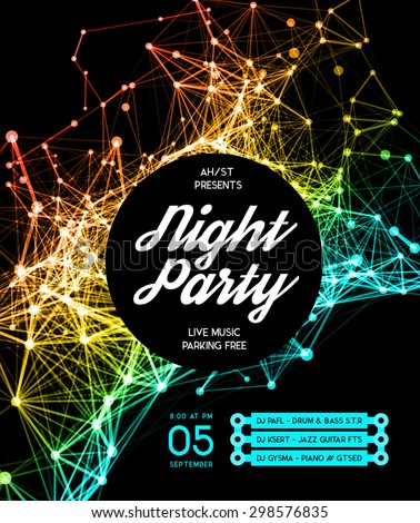 Night Disco Party template. Square business card template, paper sheet, information, text.  - stock vector
