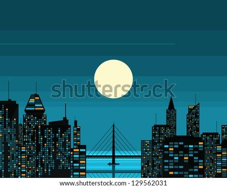 Night futuristic city with big moon. Vector illustration. - stock vector