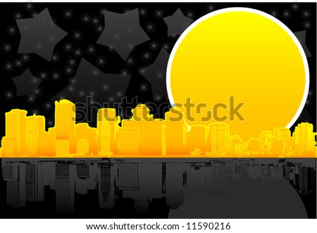 Night golden city skyline background - stock vector