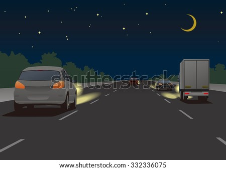 night highway and vehicles, vector illustration - stock vector
