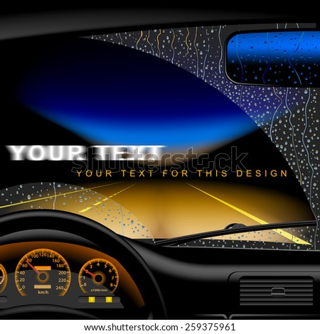 Night highway in rain from inside of the car. Vector illustration.  - stock vector