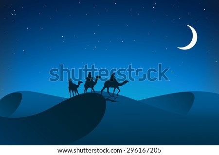 Night in desert. Caravan. - stock vector