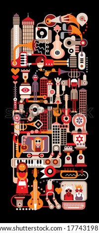 Night in Music City - vector illustration on black background. - stock vector