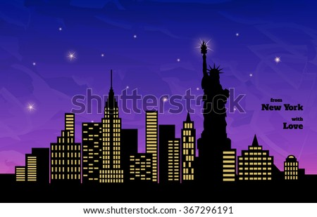 night in New York, statue of liberty, vector illustration - stock vector