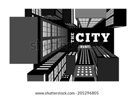 Night in the city. Top view vector illustration - stock vector