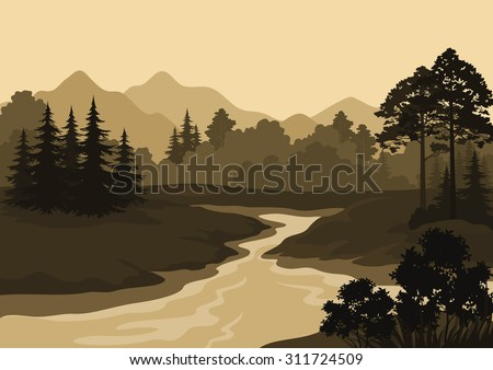 Night Landscape, Mountains, River and Trees Silhouettes. Vector