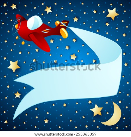 Night landscape with airplane and banner, vector eps10 - stock vector