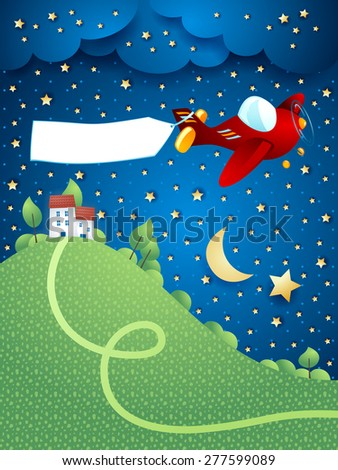 Night landscape with airplane, banner and hill, vector illustration eps10 - stock vector