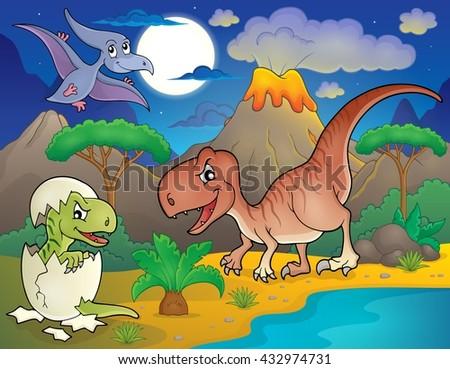 Night landscape with dinosaur theme 2 - eps10 vector illustration. - stock vector