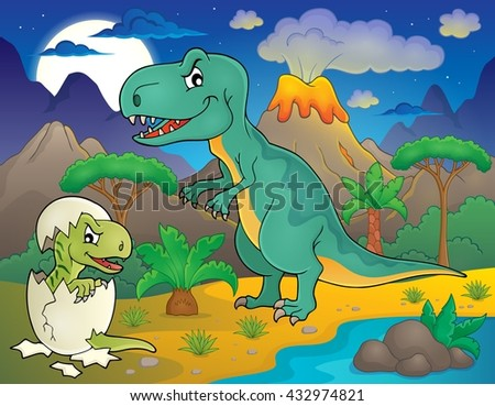 Night landscape with dinosaur theme 3 - eps10 vector illustration.