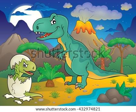Night landscape with dinosaur theme 3 - eps10 vector illustration. - stock vector