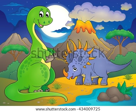 Night landscape with dinosaur theme 7 - eps10 vector illustration.