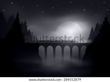 night landscape with train on old bridge and moon in background editable vector - stock vector