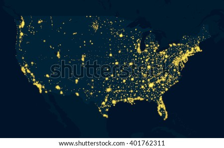 Night Map United States of America - stock vector