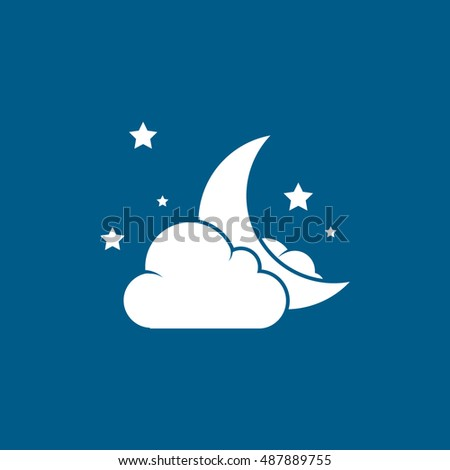 Night Moon With Cloud And Stars Halloween Concept Flat Icon On Blue Background