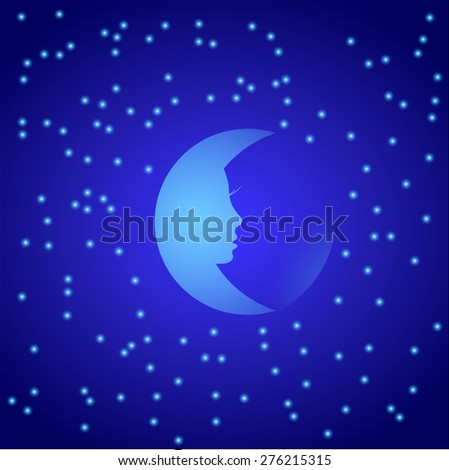 Night moon with stars. Vector illustration