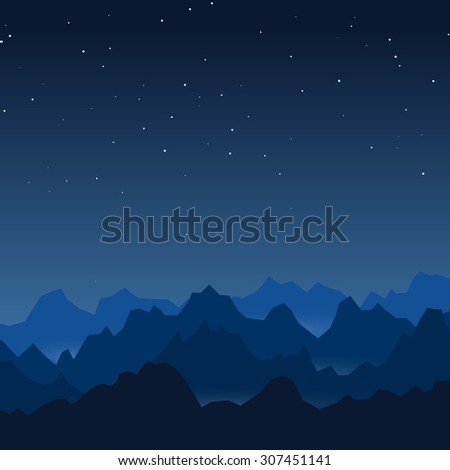 Night mountains vector background - stock vector