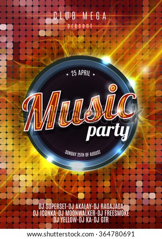 Night Music Party Poster  Hot Red Background Template - Vector Illustration. - stock vector