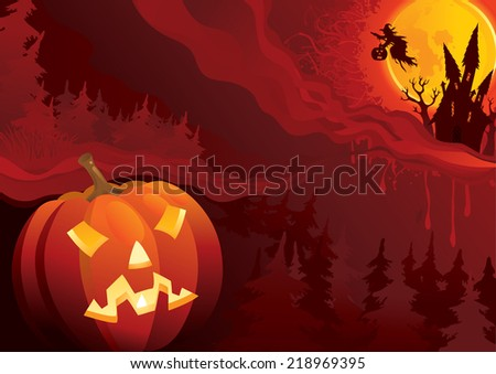 Night of Halloween. Vector background of fantastic halloween landscape with Jack O' Lantern - stock vector