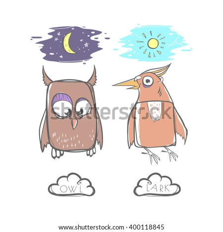 Night Owls vs Morning Larks. What Type of Bird Are You? - stock vector