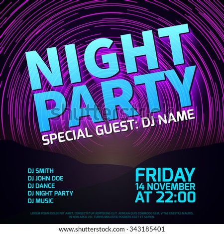 Night party background with star trails place for text.  Disco club music, celebration entertainment, vector illustration