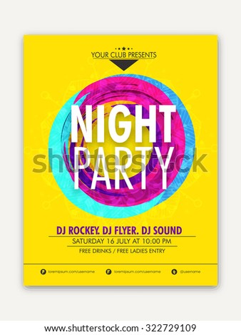 Night Party celebration, one page Flyer, Banner or Template with date and time details. - stock vector