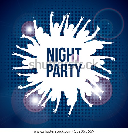 night party design over blue background vector illustration  - stock vector