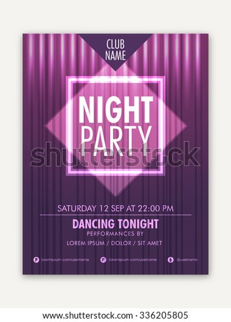 Night Party Template, Banner or Flyer presentation with details on stylish background.  - stock vector