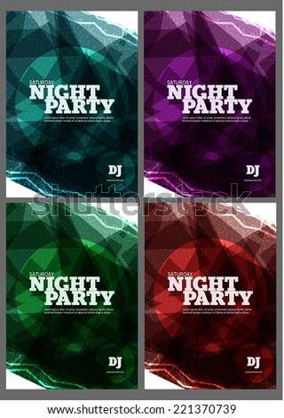 Night party Vector Flyer Template - stock vector