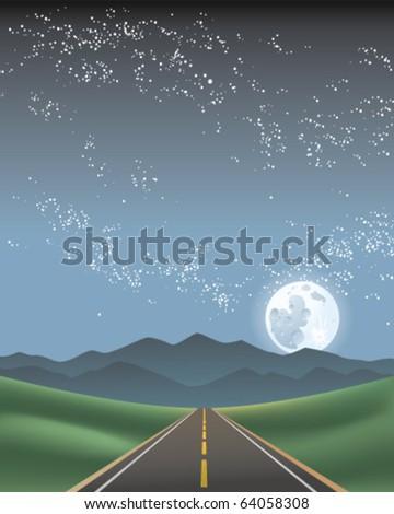 Night Road - stock vector