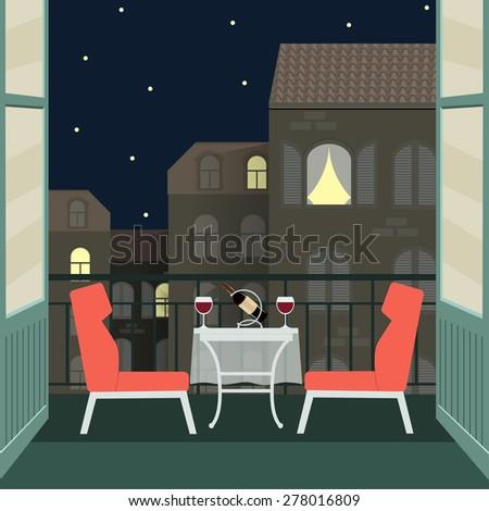 Balcony night stock images royalty free images vectors for Balcony cartoon