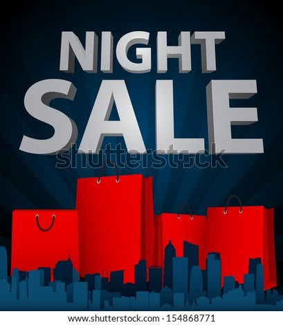Night sale with shopping bag in city - stock vector