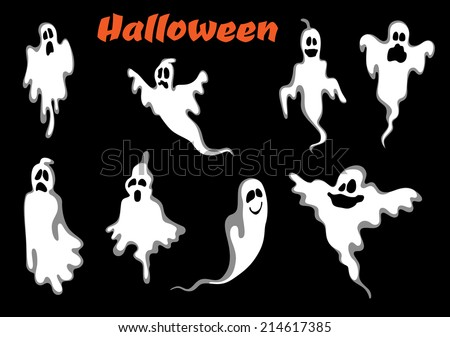 Night scary halloween ghosts set isolated on black background. For halloween party invitation and fear concept - stock vector